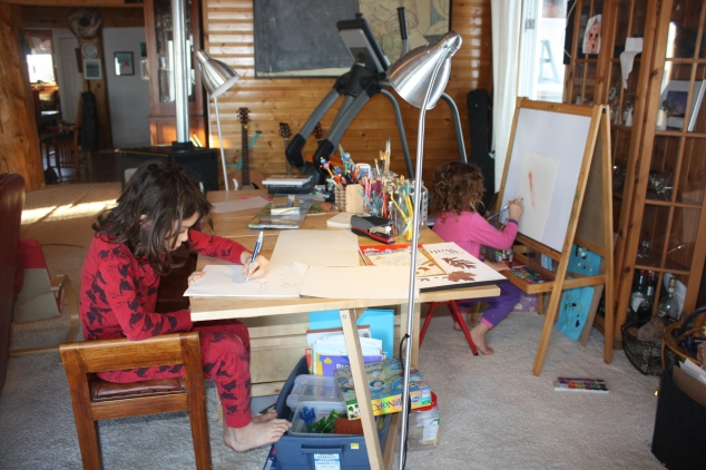 Drawing and Painting in their PJ's
