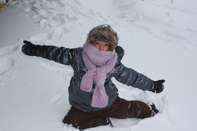 Gymnastics Pose in the Snow
