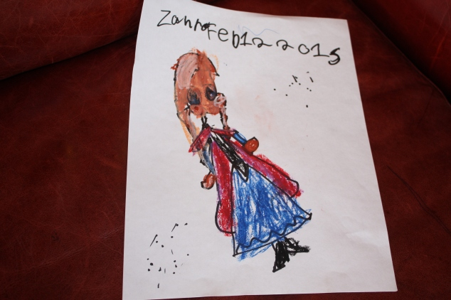 Zahra's Drawing of Anna from the Frozen movie
