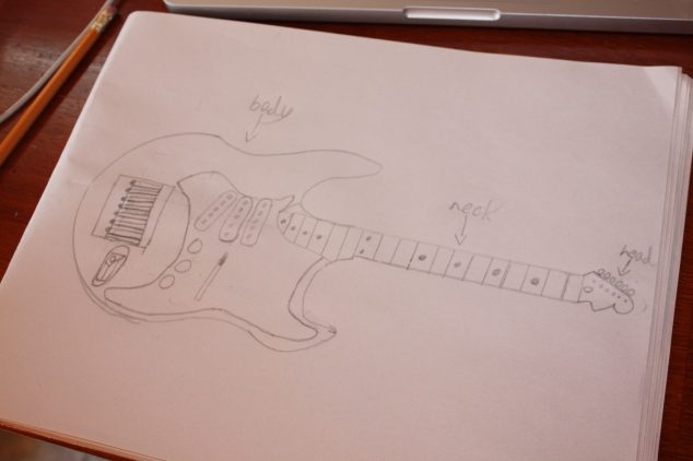 He decided to sketch out his guitar to diagram each part.