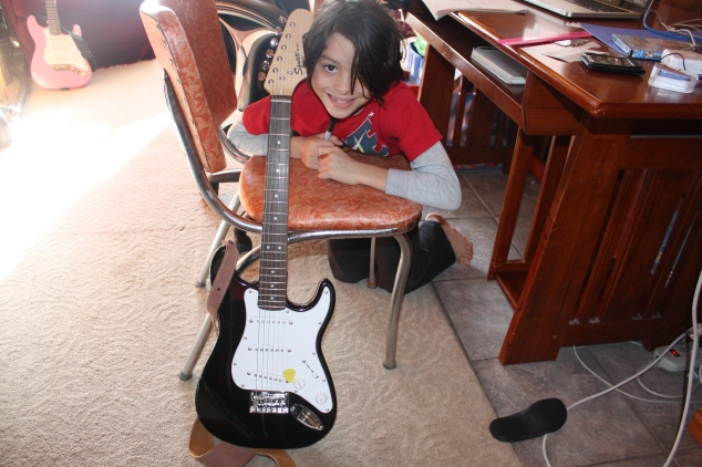 Ronan has an interest in learning the guitar. Before his lessons begin he has been using an online guitar lesson, listening to songs that have a strong guitar element (Led Zepplin and White Stripes are current favourites), and learning the parts of his guitar.