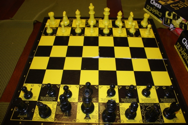 We started playing chess using the Chess For Dummies board. It is a great way for young learners to understand and remember their pieces and how they move.