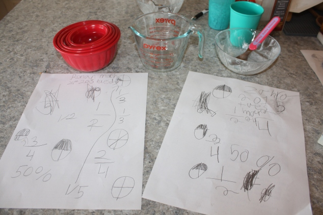 Ronan and Zahra's fraction doodle sheet.